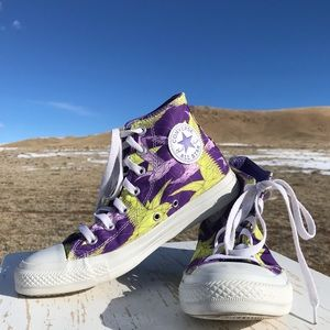 Converse Sneakers Origami Bird Pattern Purple